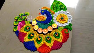 Easy & attractive with colorful peacock rangoli/FESTIVAL'S rangoli