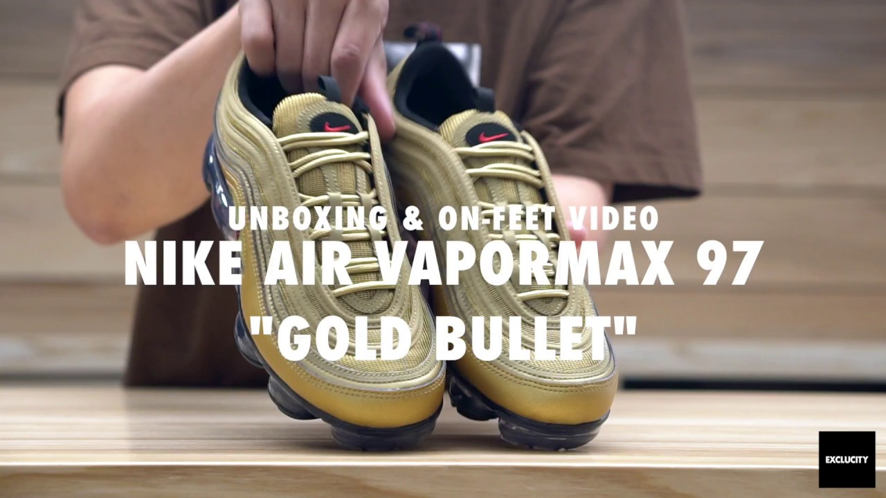 6a1924a6642 Nike Vapormax 97 Gold Bullet Unboxing   On feet Video at Exclucity ...