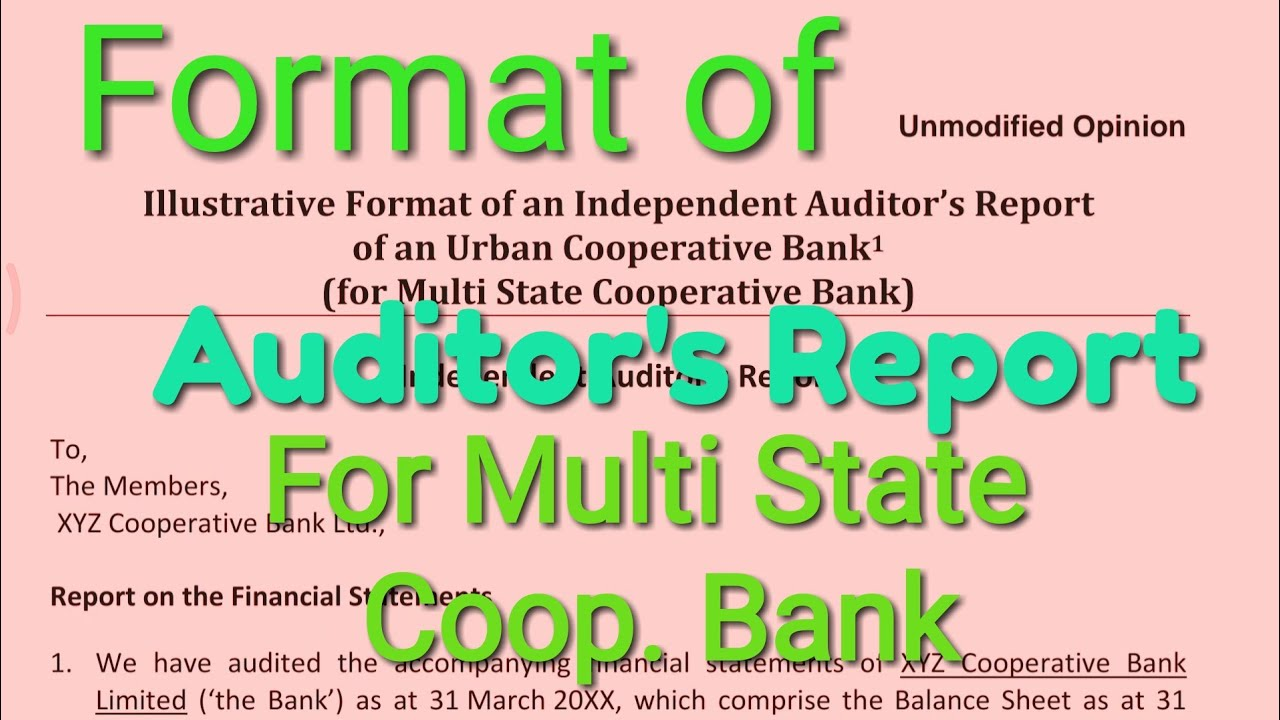 Format of an independent auditors report of an urban cooperative format of an independent auditors report of an urban cooperative bank sudhir mishra altavistaventures Image collections