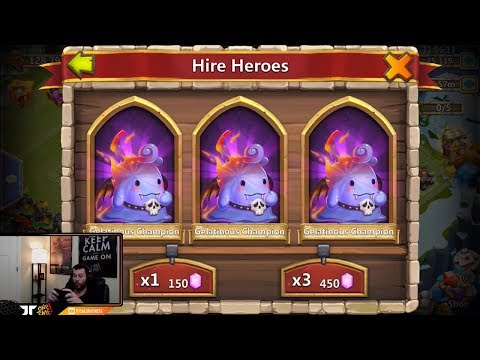 Rolling 33000 Gems Hero Collector Gelatnous Champions ALL DAY Castle Clash