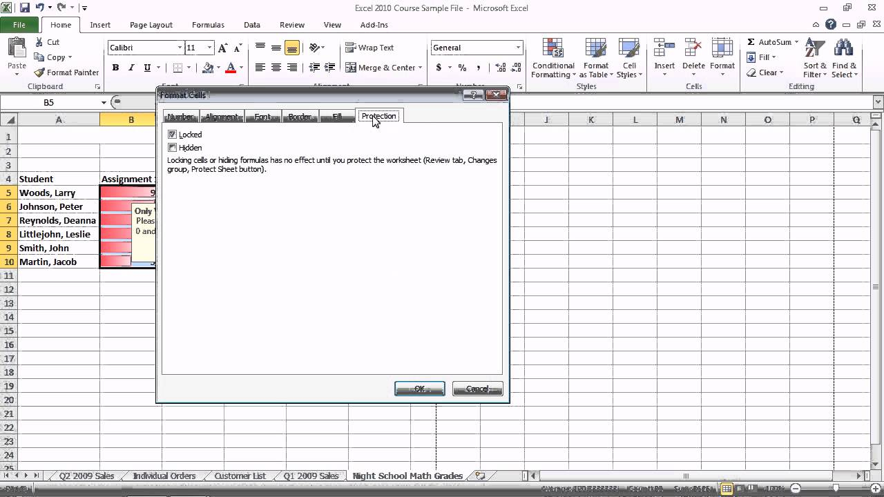 how do you password protect a worksheet in excel 2010
