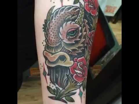 Drawn on buffalo head tattoo by zez youtube for Tattoos of buffaloes