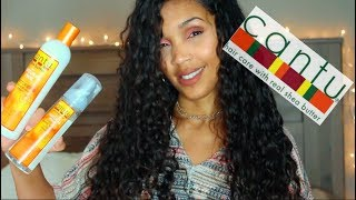 CANTU SHEA BUTTER CURLY HAIR ROUTINE | Moisturizing Curl Activator Cream, Curling Mousse, Wave Whip