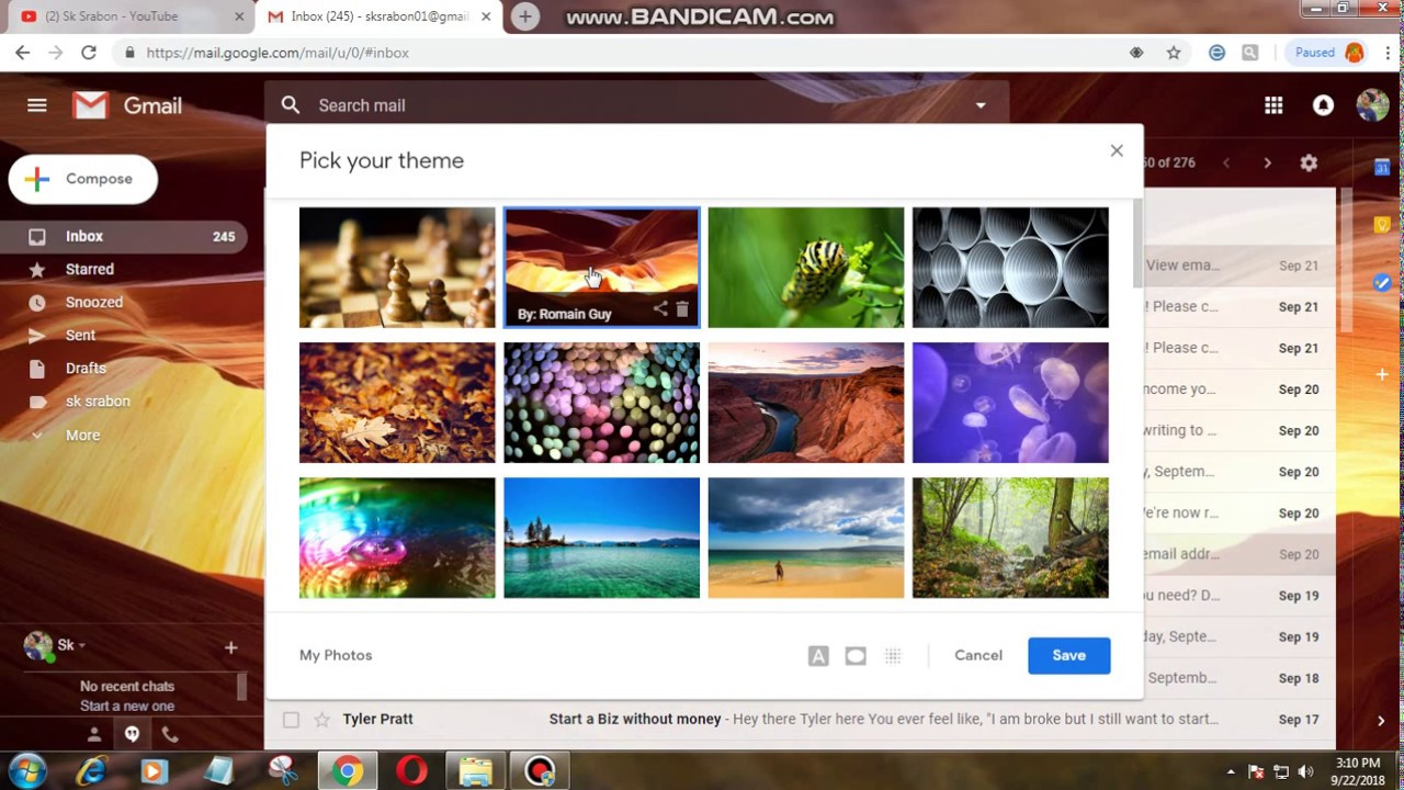 How to Change Your Gmail Theme Background Image 2018  Gmail Bangla Tutorial   Customize Gmail Themes