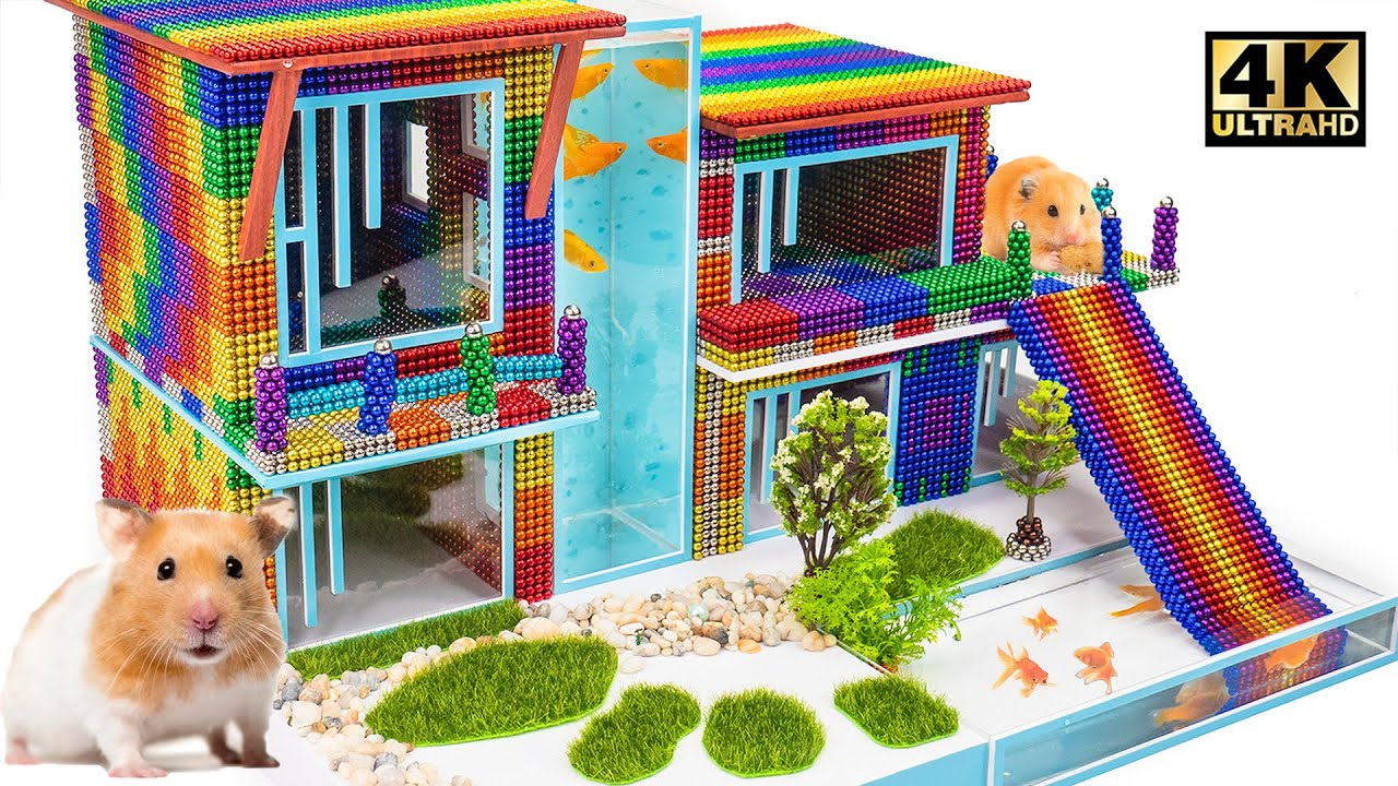 Build Creative Villa House Has Pool For Hamster From Magnetic Balls (Satisfying ASMR) | MW Series