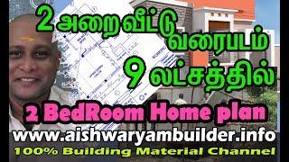 2 அறை வீட்டு வரைபடம்   Double Bed Room Home plan   house plan   Vastu plan   தமிழ்   veedu