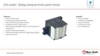V33 socket - Spring clamp terminal, panel mount