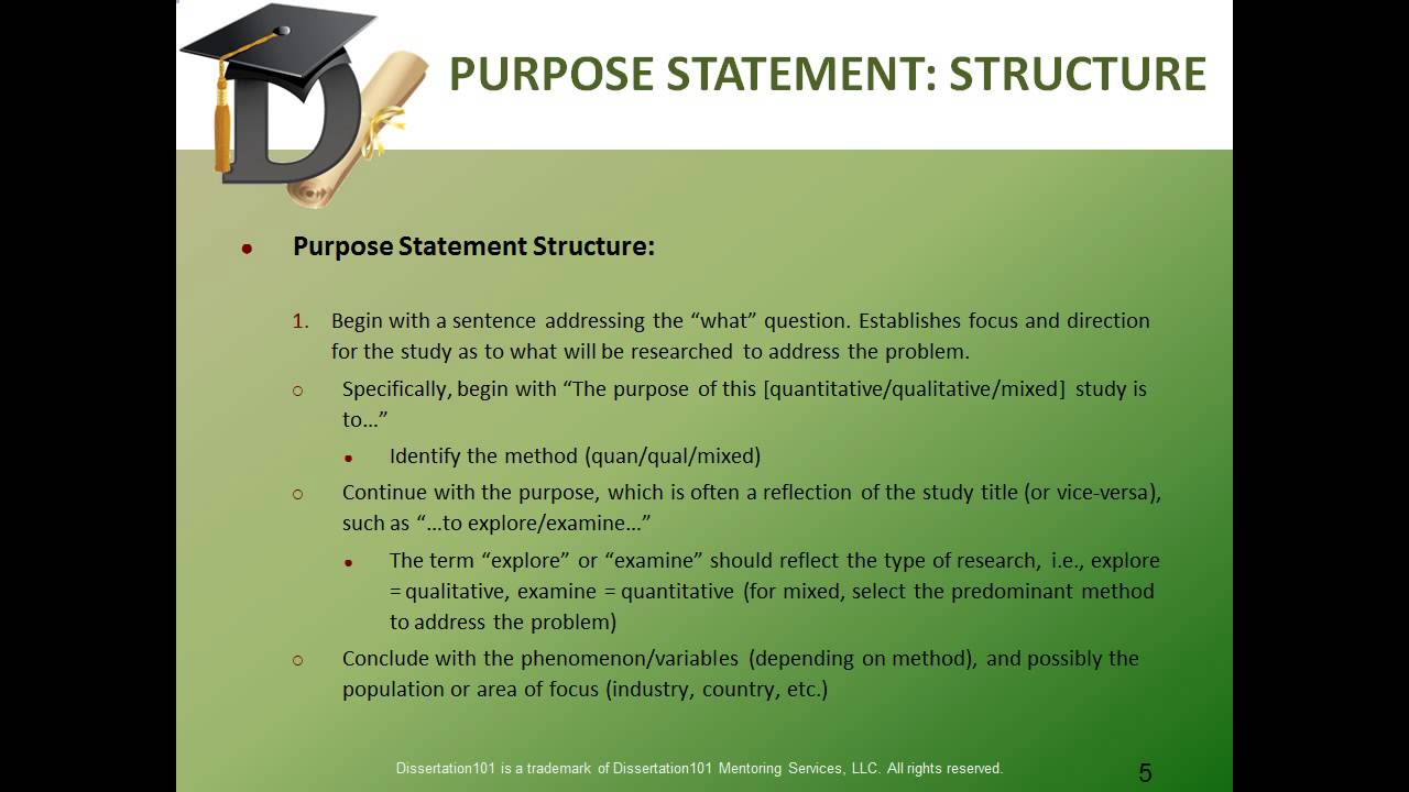 Dissertation develop purpose statement