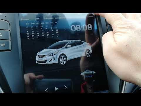 Штатная магнитола в стиле Тесла на Hyundai Avante