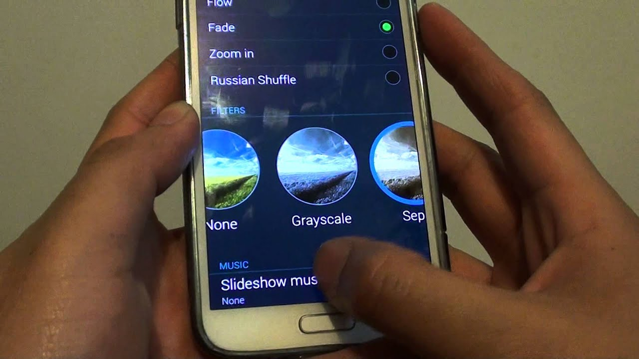 samsung galaxy s5 how to run photo slideshow with background music youtube