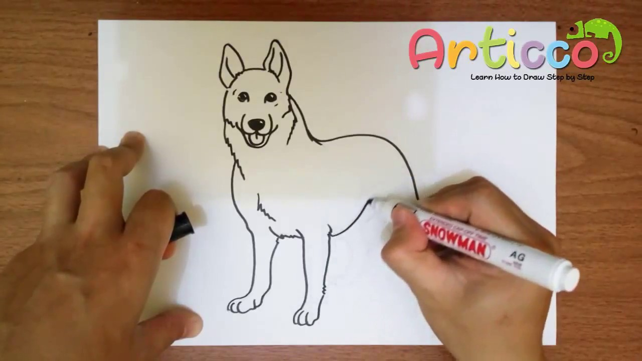 How To Draw A German Shepherd Step By Step For Kids Youtube