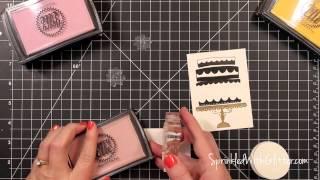 Wonky Cake Card - Layered Ink Stamping