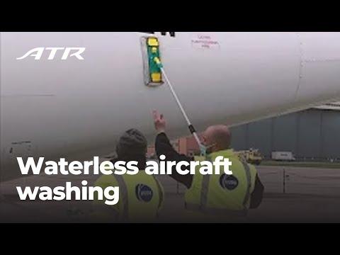Waterless aircraft washing