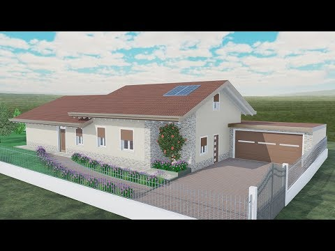 Villa unico livello 120 mq edificius 3d rendering youtube for 4 piani di casa auto garage