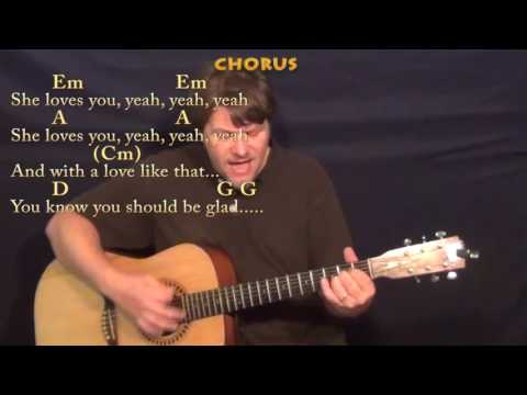 She Loves You (Beatles) Guitar Cover Lesson with Chords/Lyrics - Munson