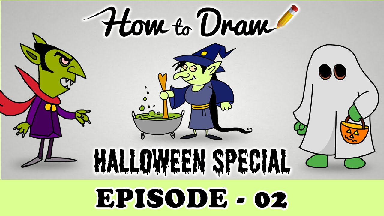 how to draw a halloween ghost vampire u0026 witch halloween special