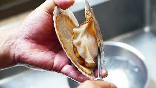Japan Street Food - GIANT SCALLOPS Cheese Sashimi Seafood Okinawa Japanese