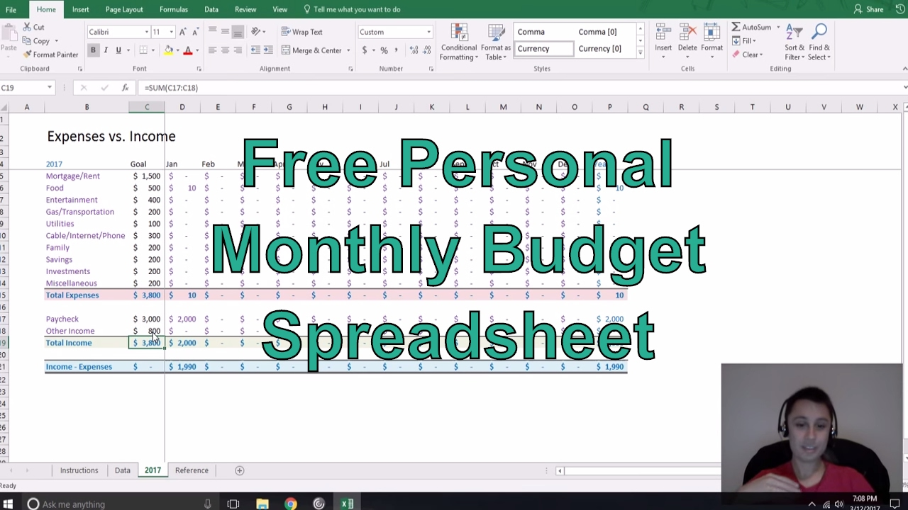 free personal monthly budget spreadsheet youtube