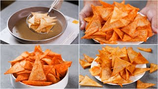 CRISPY NACHOS RECIPE USING RICE FLOUR | RICE FLOUR CHIPS |CRUNCHY RICE NACHOS | TEA TIME SNACKS