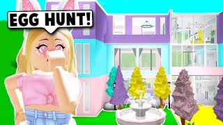 TRANSFORMING MY MANSION INTO AN EASTER EGG HUNT ON BLOXBURG! (Roblox)