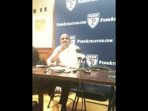 Penn basketball coach Jerome Allen, Harvard postgame, 2-10-12
