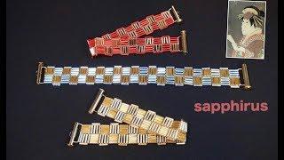 """【ビーズステッチ】竹ビーズで作る市松模様のブレスレット☆作り方 Checkered Pattern Bracelet. Traditional Japanese pattern """"Ichimatsu"""""""
