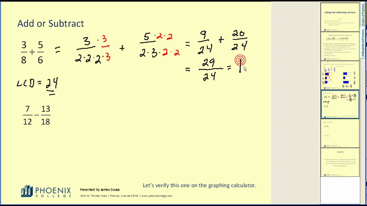 Addition and Subtraction of Fractions - YouTube