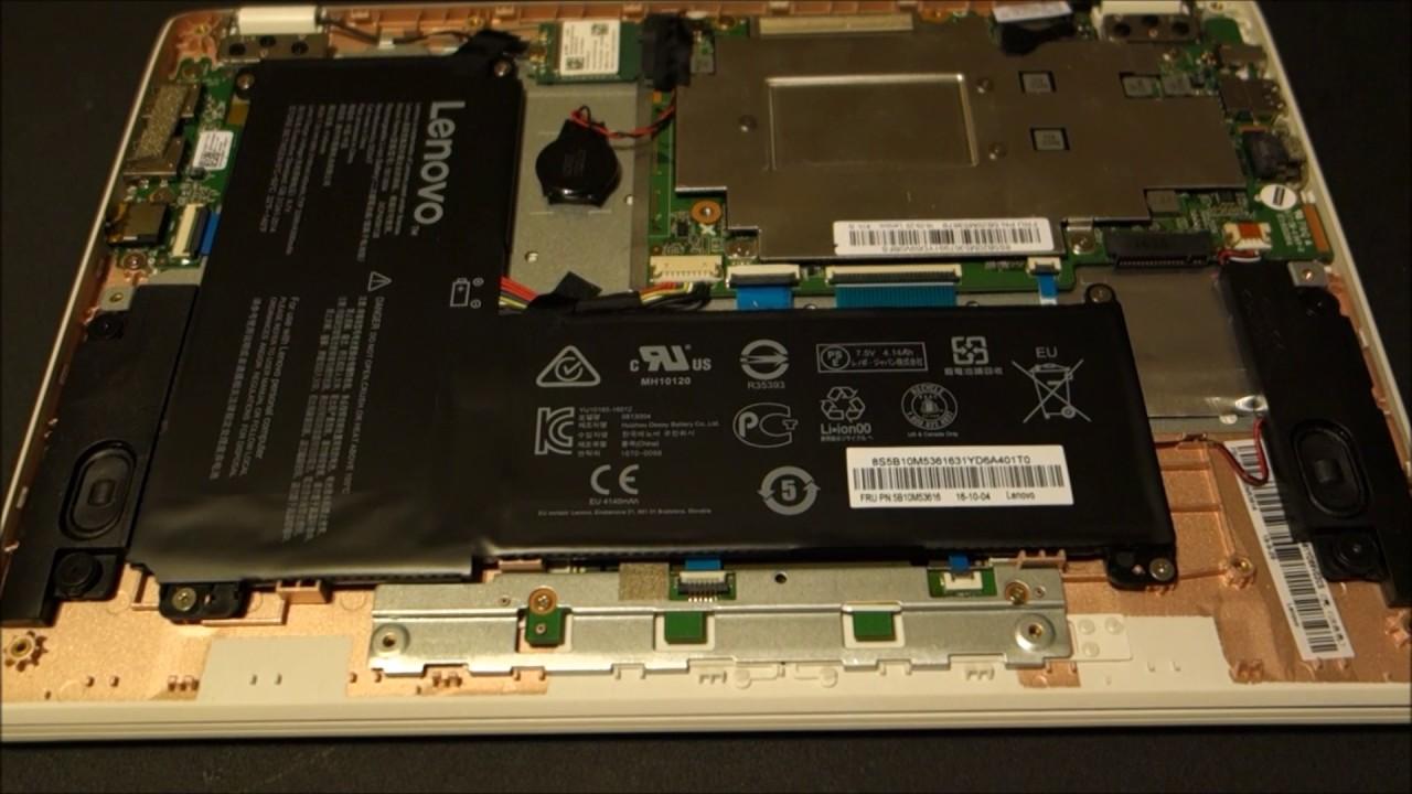 Lenovo Ideapad 110s opened up showing hardware