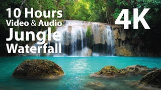 4K UHD 10 hours - Jungle Waterfall - mindfulness, ambience, relaxing, meditation, nature screenshot 5