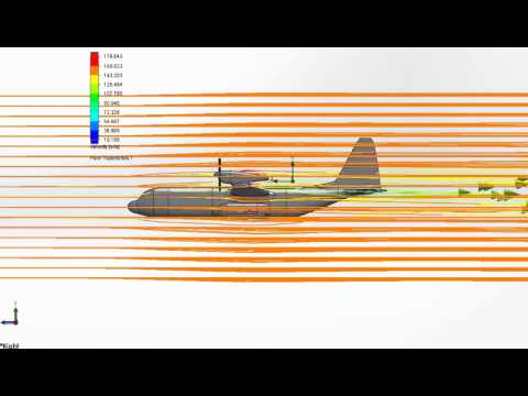 Blended Body Stealth Military Cargo Aircraft Design - Side Flow Simulation