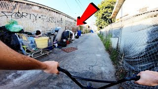 RIDING BMX IN LA COMPTON GANG ZONES 18 (CRIPS & BLOODS)