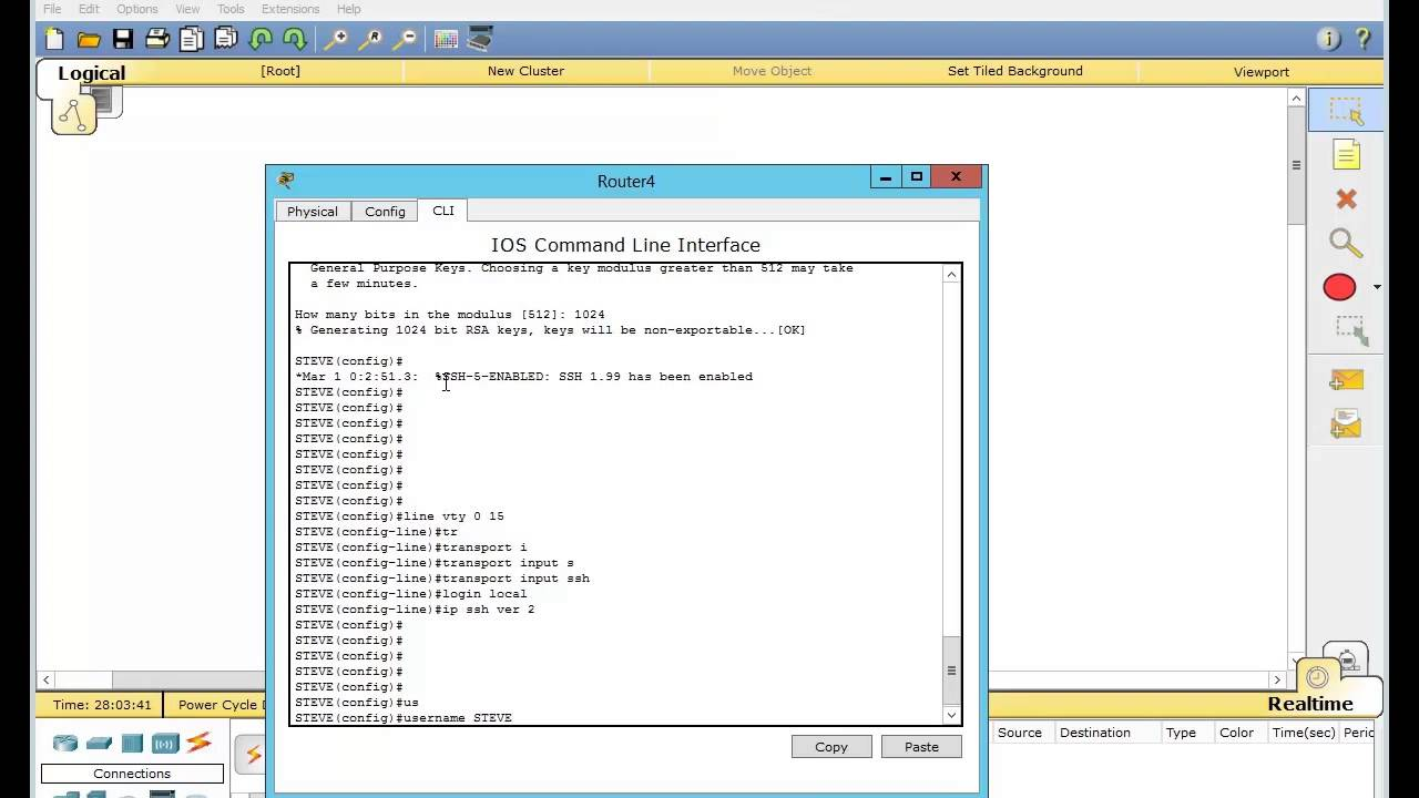 How to set up Secure Shell (SSH) in Cisco Packet Tracer