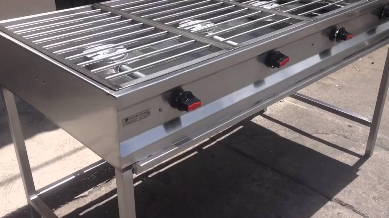 Parrilla en acero inoxidable 4 quemadores youtube for Parrilla cocina industrial