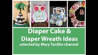 Creative Diaper Cake and Diaper Wreath Ideas - Baby Shower Gift Ideas