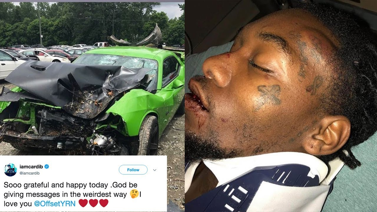 Offset Shares Photos Of GRUESOME Car Accident Photos! Cardi B TWEETS Sweet  Message