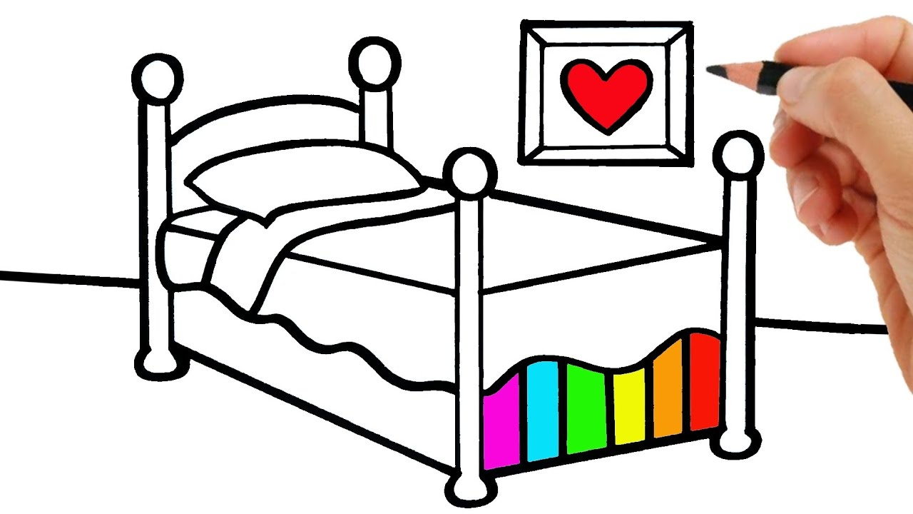 HOW TO DRAW A BEDROOM AND A GIRL'S BED