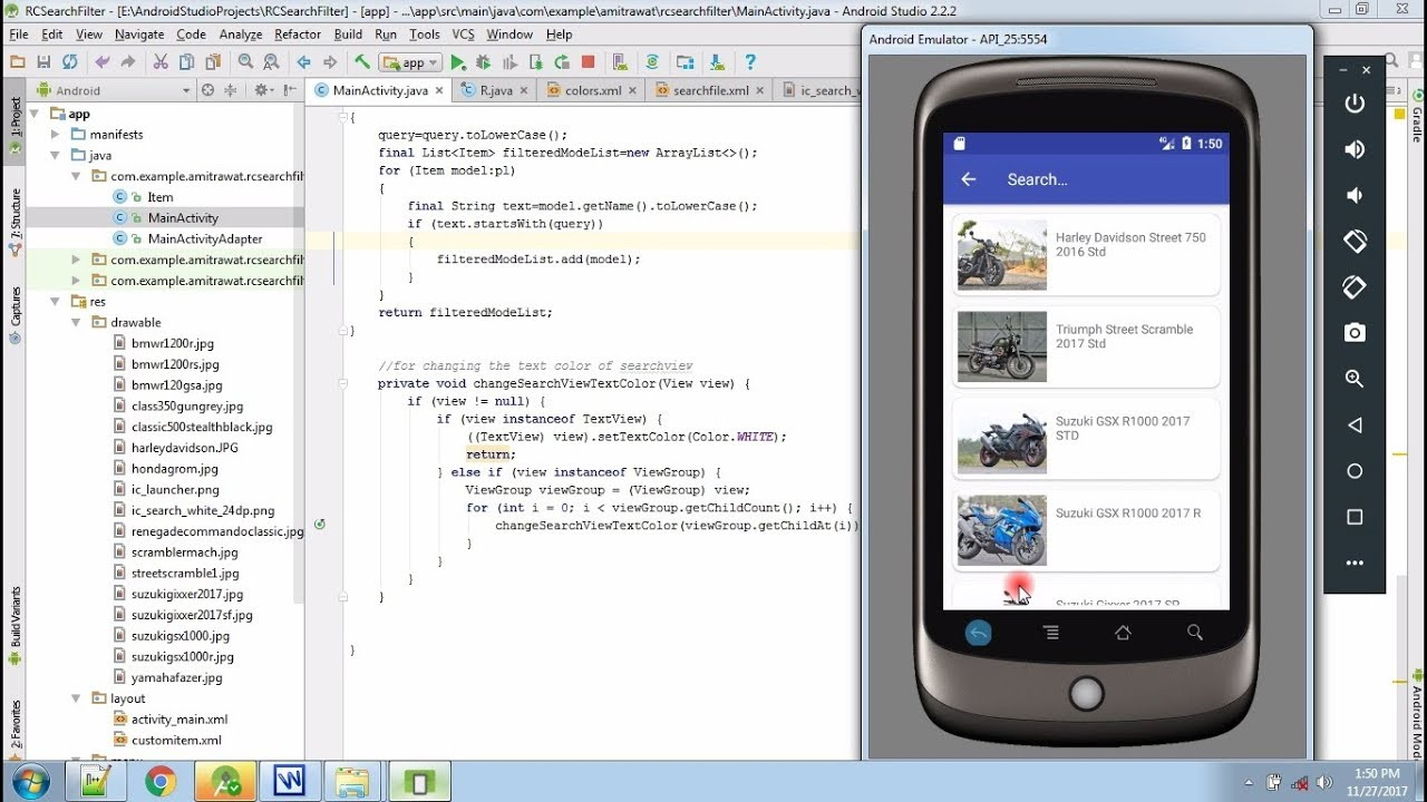 How to filter a RecyclerView with a SearchView with ItemClick in android  pogrammingcodetech