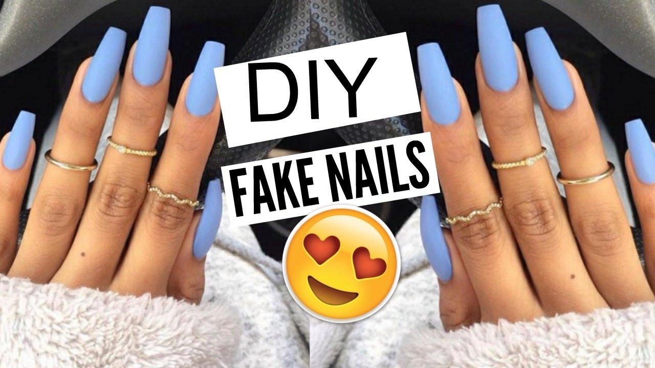 DIY: 5 Min FAKE Nails at HOME! (NO ACRYLIC) |Kellie Sweet - YouTube