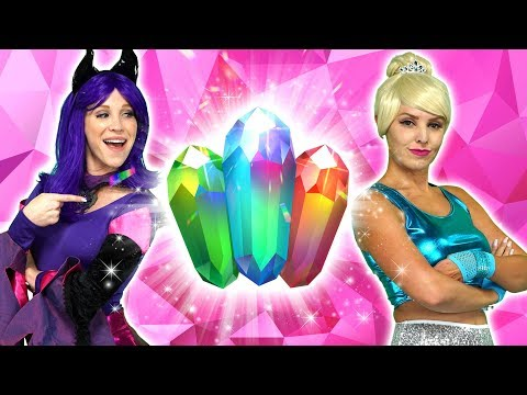 ELSA AND MALFICENT'S MAGIC CRYSTALS And Disney Princesses Ariel Belle Jasmine and Anna