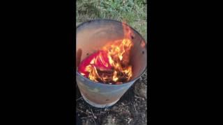 Burning my ex girlfriend's red hoodie and black skirt