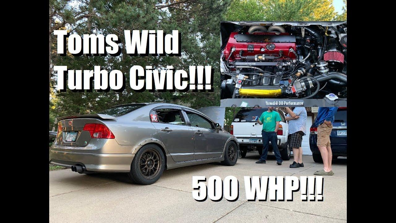 Toms wild 500whp Turbo K20 Civic SI!