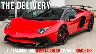 Delivering a 2017 Lamborghini Aventador SV LP750-4 Roadster in Rosso Mars