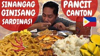 SINANGAG! PANCIT CANTON! GINISANG SARDINAS atibapa! MUKBANG. Filipino Food.