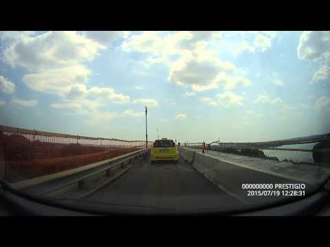 Driving on the bridge from the border between Ruse (Bulgaria