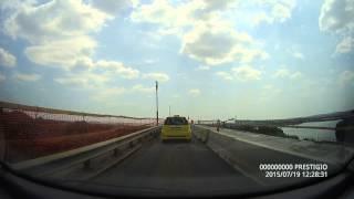 Driving on the bridge from the border between Ruse (Bulgaria) and Giurgiu (Romania)