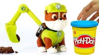 Paw Patrol Rubble Stop motion 💕 Superhero Play Doh cartoons