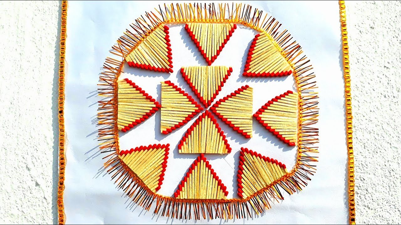 DIY matchstick wall hanging,creativity with waste matchstick,reuse ...