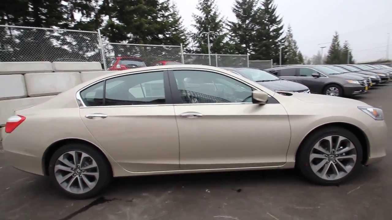 Honda Of Seattle >> 2014 Honda Accord Sport | Champagne Frost |EA094464 | Seattle | Renton - YouTube