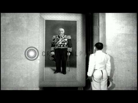 Japanese cadets see portraits of Japanese Naval officers and  read proverbs on th...HD Stock Footage