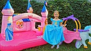 Yulya Pretend Play Cinderella and Dress Up in Real Princess Dress